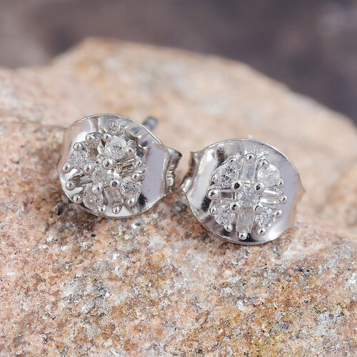 9K White Gold Natural White Diamond (Rnd and Bgt) Starburst Stud Earrings (with Push Back)