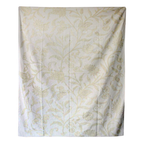 Hand Embroidery from Kashmir-100% Wool on Canvas Beige and Cream Floral and Leaves Pattern Blanket (Size 160X140 Cm)