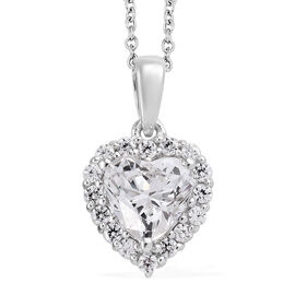 J Francis - Platinum Overlay Sterling Silver (Hrt 7 mm) Heart Pendant With Chain (Size 20) Made With SWAROVSKI ZIRCONIA