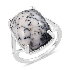 Dendritic Agate (Cush 16x12 mm) Solitaire Ring (Size M) in Sterling Silver 8.00 Ct.