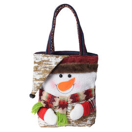 3D Santa Claus Pattern Tote Bag (Size 23x28 Cm) - Khaki and Multi