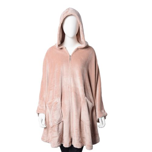 Extremely Soft Silk Touch Velour Lounge Cosy Gown with Slippers in  Dark Blush Colour.