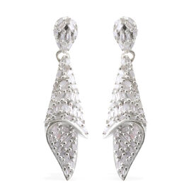 Designer Inspired- Diamond (Taper Baguette) Earrings (with Push Back) in Platinum Overlay Sterling Silver 0.500 Ct, Silver wt 5.75 Gms, Number of Diamonds 124.