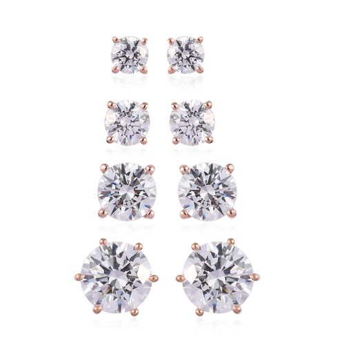 J Francis - Set of 4 - Rose Gold Overlay Sterling Silver Stud Earrings (with Push Back) Made with SW