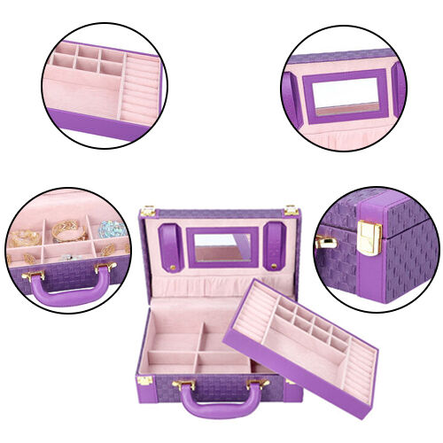 Woven Texture Briefcase Design 2-Layer Jewellery Box in Purple