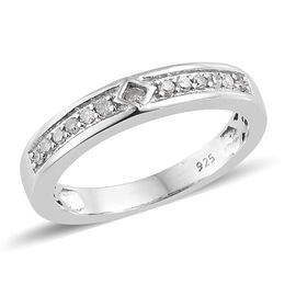 Diamond (Rnd) Band Ring in Platinum Overlay Sterling Silver 0.150 Ct.