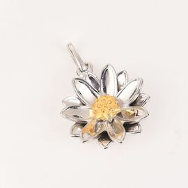 Platinum and Yellow Gold Overlay Sterling Silver Floral Pendant