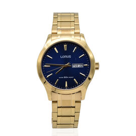 Lorus Mens Quartz Dress Watch with Stainless Steel Gold Bracelet & Blue Dial