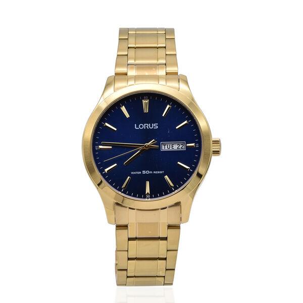 Lorus Mens Quartz Dress Watch with Stainless Steel Gold Bracelet & Blue Dial