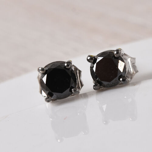 Black Diamond Stud Earrings (with Push Back) in Platinum Overlay Sterling Silver 1.00 Ct.