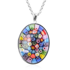 Multi Colour Murano Glass Oval Pendant with Chain (Size 24) in Silver Plated Stainless Steel