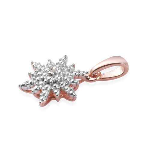 Diamond Starbust Pendant in Rose Gold Overlay Sterling Silver
