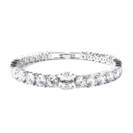 Simulated White Diamond (Ovl and Rnd) Bracelet (Size 8) in Silver Tone