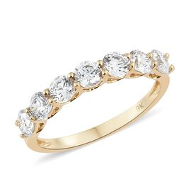 J Francis - 9K Yellow Gold (Rnd) 7 Stone Ring Made with SWAROVSKI ZIRCONIA