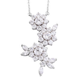 J Francis Platinum Overlay Sterling Silver (Rnd and Mrq) Floral Necklace (Size 18) Made with Swarovs