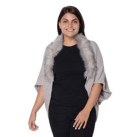 Ultra Soft Winter Kimono with Faux Fur Collar (Size 85x45 Cm)- Grey