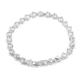 ETERNITY Crystal from Swarovski White Crystal Bracelet in Silver Plated 7.5 Inch