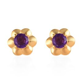 African Amethyst (0.84 Ct) 14K Gold Overlay Sterling Silver Earring  1.000  Ct.