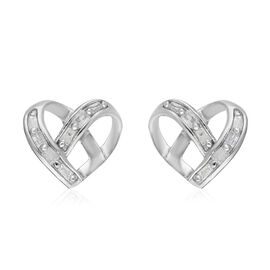 Diamond Heart Stud Earrings (with Push Back) in Platinum Overlay Sterling Silver 0.10