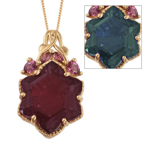 Colour Change Alexandria Quartz and Rhodolite Garnet Pendant with Chain in 14K Gold Overlay Sterling