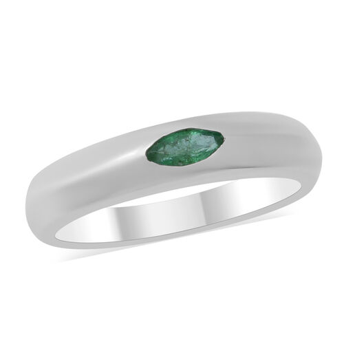 0.20 Ct Kagem Zambian Emerald Solitaire Band Ring in Sterling Silver
