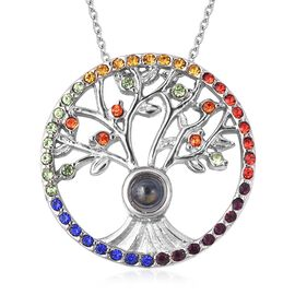 Multi Colour Austrian Crystal and Engraved Magnifying Glass Tree of life Necklace 20 Inch