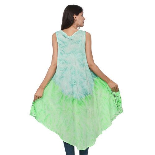 Summer Special- Embroidered Tie-Dye Round Neck Umbrella Dress (One Size; L-121cm x W-111cm) - Mint Green