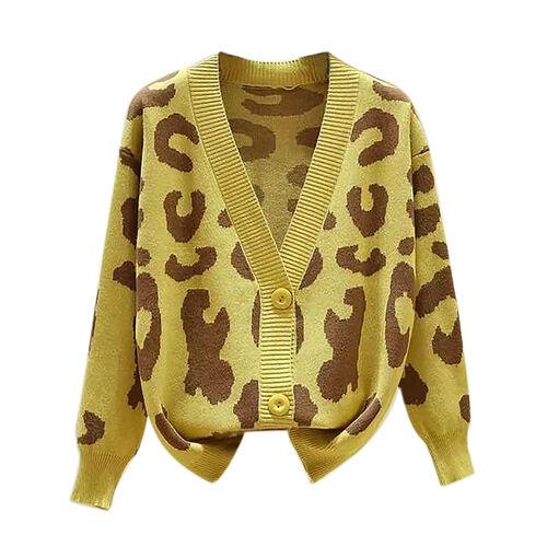 Kris Ana Animal Print Cardigan One Size (8-16)- Mustard