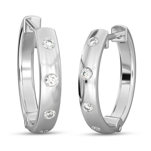 RHAPSODY 950 Platinum IGI Certified Diamond (VS/E-F) Hoop Earrings (with Clasp Lock) 0.15 Ct, Platin
