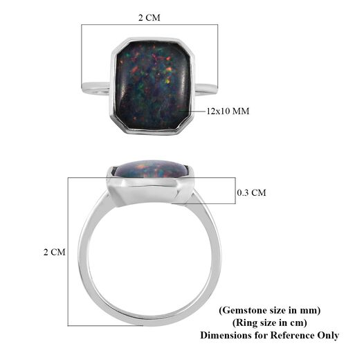 One Time Deal - Australian Boulder Opal (Oct 12x10) Solitaire Ring Platinum Overlay Sterling Silver