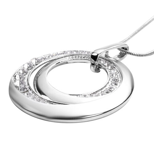 3 Piece Set - White Austrian Crystal Pendant with Chain (Size 24 with 2 inch Extender), Bangle (Size 7) and Earrings (with Push Back) in Silver Tone