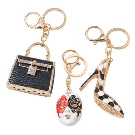 Set of 3 White Austrian Crystal (Rnd) Mask, Shoe and Bag Key Chain with Lobster Lock in Gold Tone wi