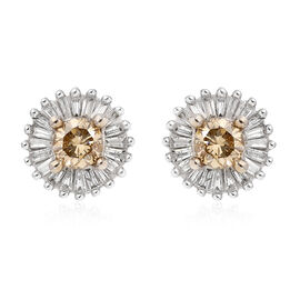9K White Gold SGL Certified Natural Champagne and White Diamond Stud Earrings (with Push Back) 0.50