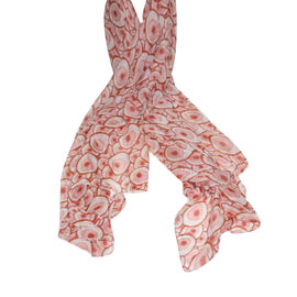 Lightweight Coral and Cream Bubble Print Scarf (160x85cm)