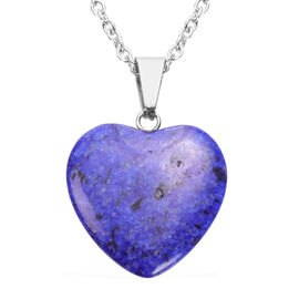 Lapis Lazuli Heart Pendant with Chain (Size 20) in Silver Tone 21.50 Ct.