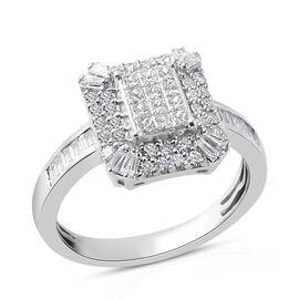 RHAPSODY 1 Carat Diamond Invisible Set Cluster Ring in 950 Platinum 6.40 grams IGI Certified VS EF