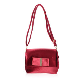 Red Colour Velvet Cross Body Bag (Size 24x17x7 Cm)