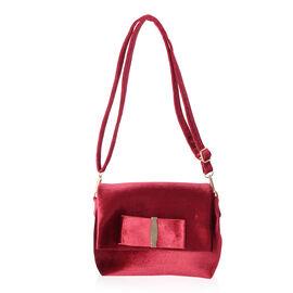 Red Colour Velvet Cross Body Bag (Size 24x17x7 Cm)
