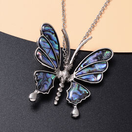 Abalone Shell Butterfly Pendant with Chain (Size 20 with 2 inch Extender) in Silver Tone