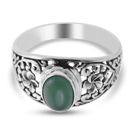 Royal Bali Collection - Chrysoprase Floral Ring in Sterling Silver 1.25 Ct.