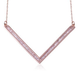9K Rose Gold Natural Pink Diamond (Bgt) V Necklace (Size 19.5) 0.503 Ct.