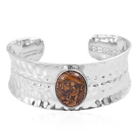 7.5 Inch Script Stone Cuff Bangle in Silver Tone