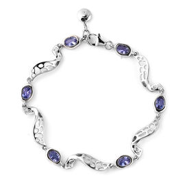 RACHEL GALLEY Tanzanite Lattice Wave Design Bracelet (Size 8) in Rhodium Overlay Sterling Silver 2.5