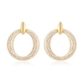 Simulated Diamond (Rnd) Earrings (with Push Back) in Gold Tone