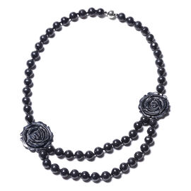 447.50 Ct Flower Carved Black Jade and Shungite Beaded Necklace in Rhodium Plated Silver 20 Inch