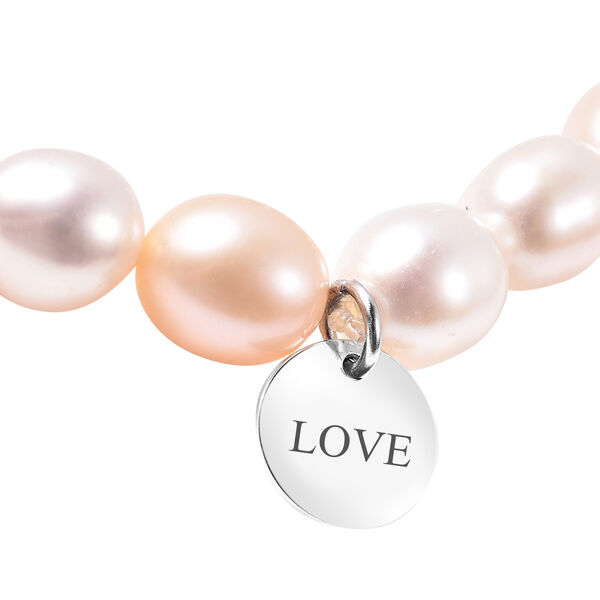 """Personalised Engravable Multi Color Fresh Water Pearl Stretchable Bracelet, Size 6.5"""""""