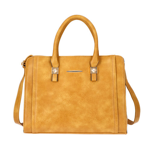 Yellow Satchel Bag with Zipper Closure and Adjustable Shoulder Strap (Size 35x9x27 Cm)