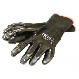 ROLSON Set of 4 - Black Nitrile Coated Gloves - Washable (Size XL)