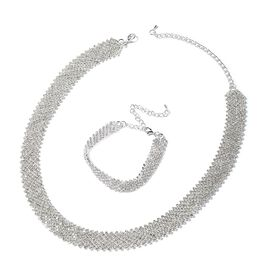 White Austrian Crystal (Rnd) Bracelet (Size 7 and 3 inch Extender) and Necklace (Size 18 and 4 inch Extender) in Silver Tone