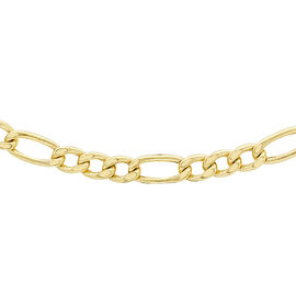 9K Yellow Gold Hollow Figaro Chain (Size 20), Gold wt 3.40 Gms
